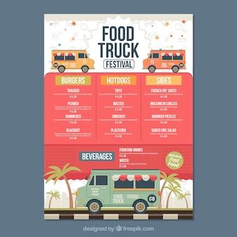 Voedsel truck menu met palmbomen