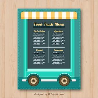 Voedsel truck menu op wielen en met luifel