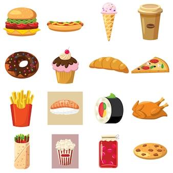 Voedsel vastgestelde pictogrammen in beeldverhaalstijl die op witte achtergrond wordt geïsoleerd