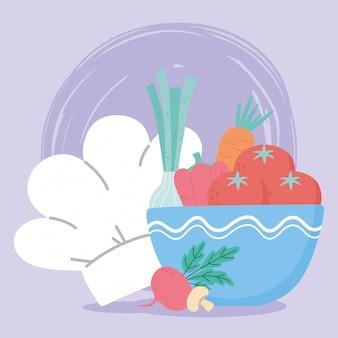 Voedsel verse tomaten wortel ui paddestoel en chef-kok hoed