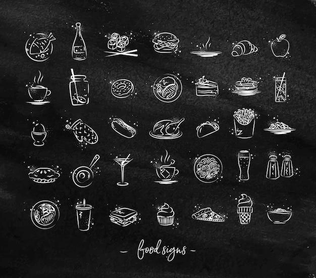 Voedsel vintage pictogrammen krijt