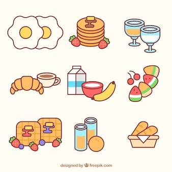 Voedsel voor het ontbijt in lineaire stijl