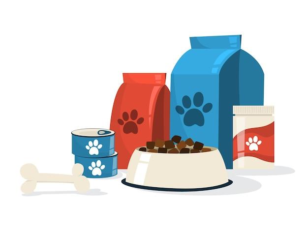 Voedsel voor huisdieren. hondenkom en pakket