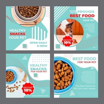 Voedsel voor huisdieren instagram posts sjabloon met foto