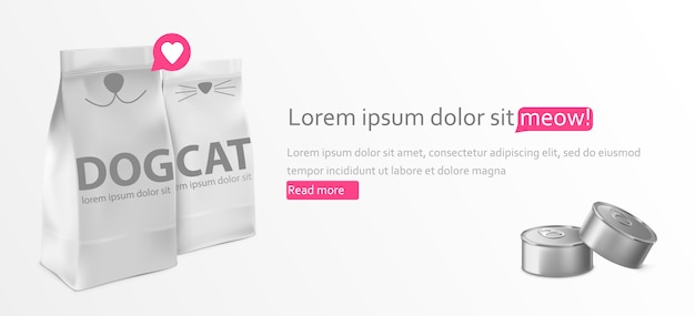 Voedsel voor kat en hond pakket sjabloon ontwerp banner