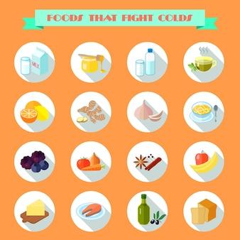 Voedsel voor koude pictogrammen