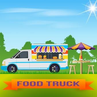 Voedsel vrachtwagen achtergrond
