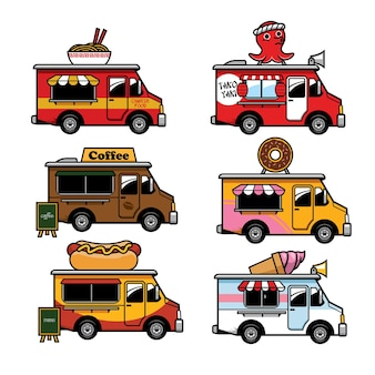 Voedsel vrachtwagen cartoon in set