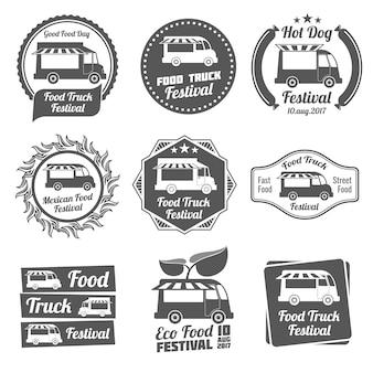 Voedsel vrachtwagen festival vintage emblemen en logo's vector set