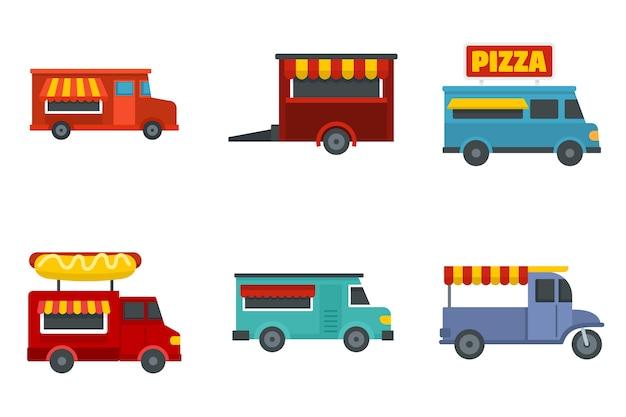 Voedsel vrachtwagen icon set
