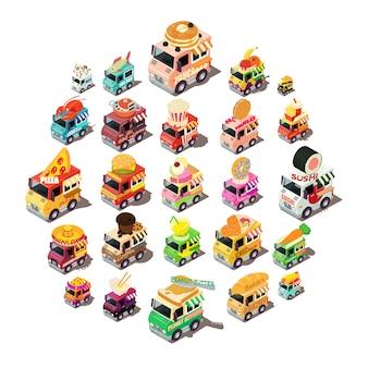 Voedsel vrachtwagen iconen set, isometrische stijl