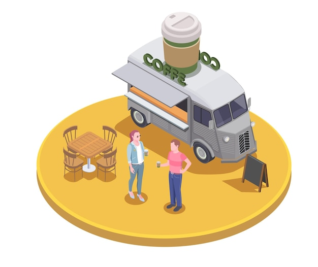Voedsel vrachtwagen isometrische illustratie