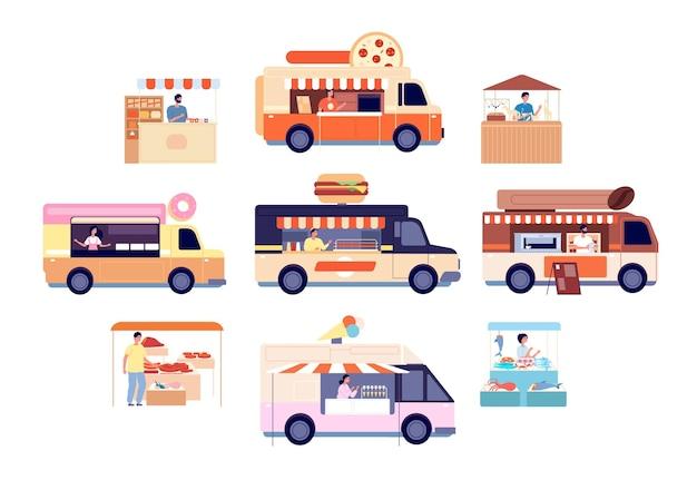 Voedsel vrachtwagen. lekkere snacks vervoer, geïsoleerde straatbusjes met drankenkaart en eten