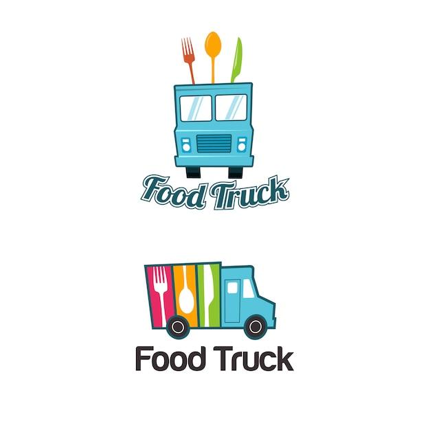 Voedsel vrachtwagen logo sjabloon