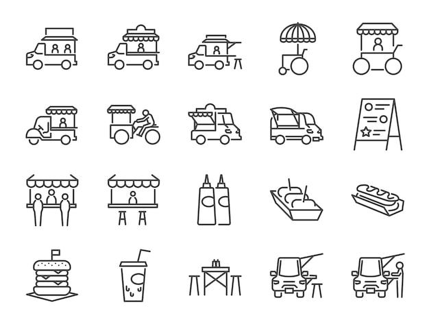 Voedsel vrachtwagen pictogramserie