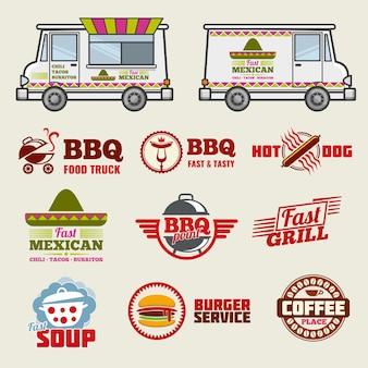 Voedsel vrachtwagen vector emblemen en voertuig sjabloon
