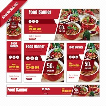 Voedsel webbanner instellen voor restaurant met korting.