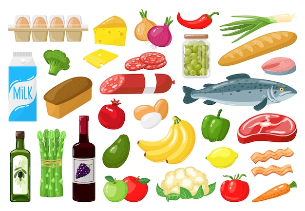 Voedsel winkelen groenten illustratie