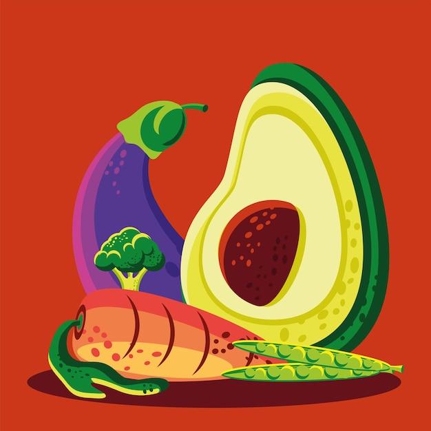 Voedsel wortel aubergine groenten voeding
