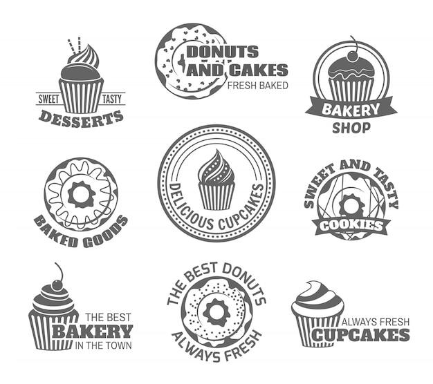 Voedsel zoete lekkere desserts donut en cupcake labels instellen geïsoleerde vector illustratie