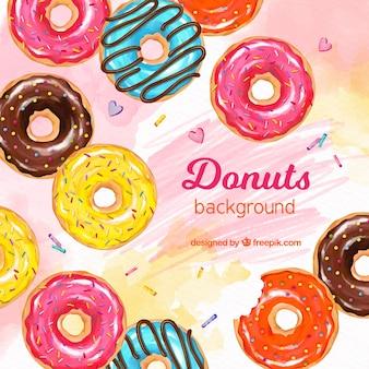 Voedselachtergrond met donuts