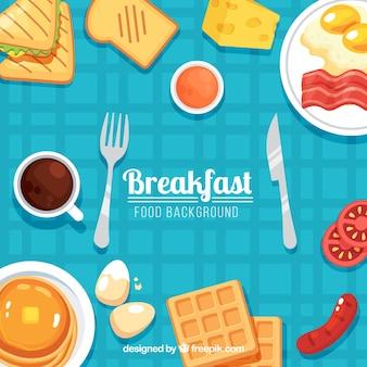 Voedselachtergrond met ontbijt