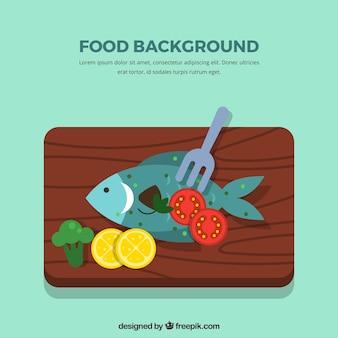 Voedselachtergrond met vissen
