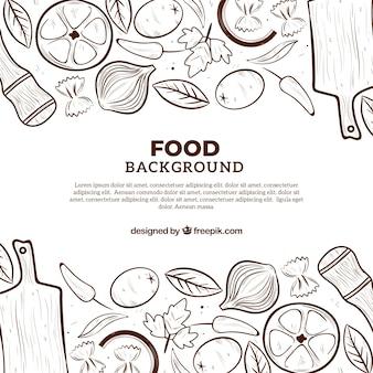 Voedselachtergrond met vlak ontwerp