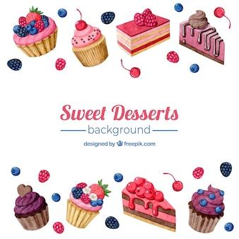 Voedselachtergrond met zoete desserts