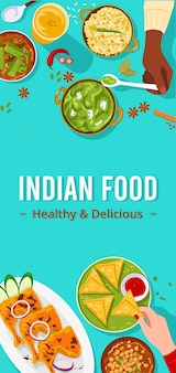Voedselbanner, bovenaanzicht van mensen die samen genieten van indiaas eten.