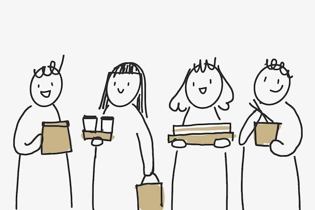Voedselbezorging doodle vector met milieuvriendelijke verpakkingen