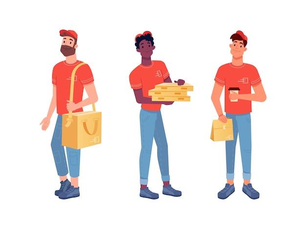 Voedselbezorgkoeriers pizzaman en lunchboxen