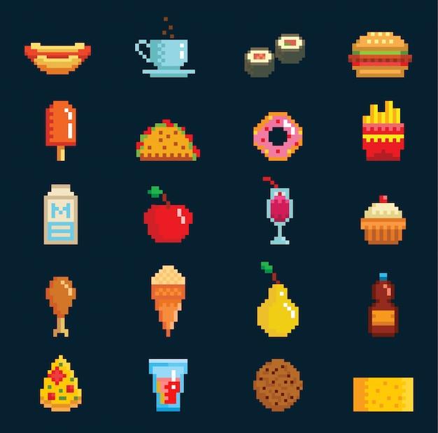 Voedselcollectie in retro pixel art stijl. hamburger, frietjes, sushi, ijs. 8bit-spel