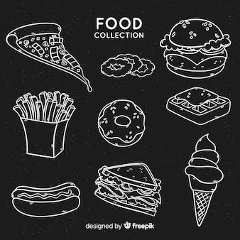 Voedselcollectie in schoolbordstijl