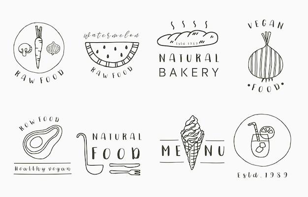 Voedselcollectie met ui, brood, avocado, watermeloen.