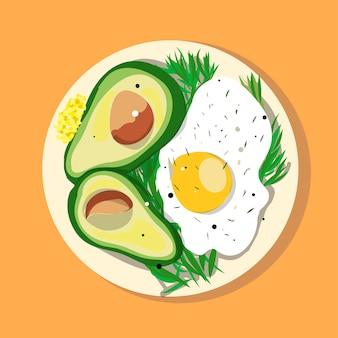 Voedseleieren en avocado op plaat