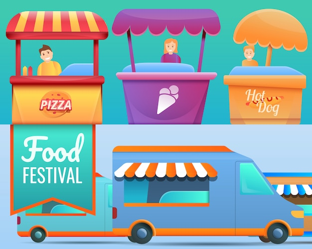 Voedselfestival illustratie ingesteld op cartoon stijl