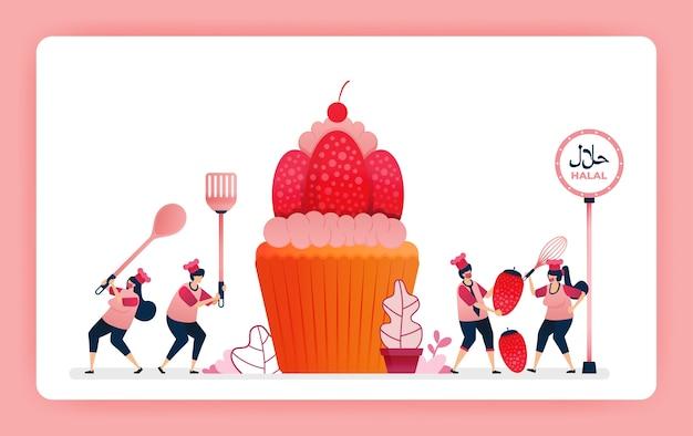 Voedselillustratie van kok halal zoete aardbei cupcakes.