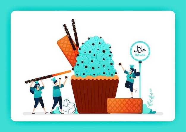Voedselillustratie van kok halal zoete cupcakes.