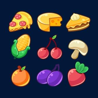 Voedselitems geschetste set voor flash game design inclusief fruit, bessen en pizza