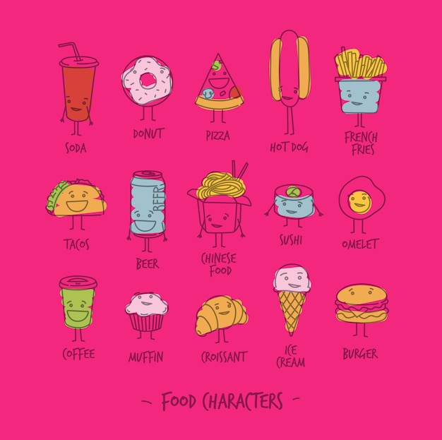 Voedselkarakters roze