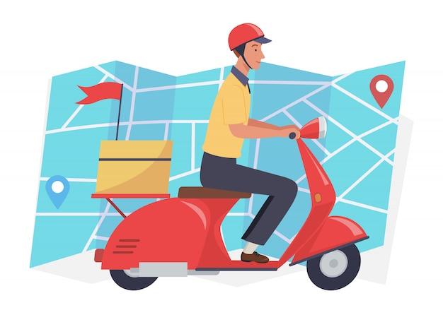 Voedsellevering. express koeriersdienst, vervoerder op vrachtautoped en pakketdoosroute.