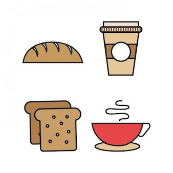 Voedsellijn geïsoleerde pictogrammen instellen