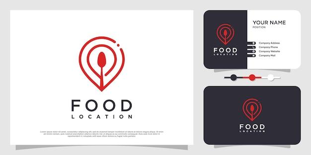 Voedsellocatie-logo met eenvoudige en creatieve elementstijl premium vector deel 5