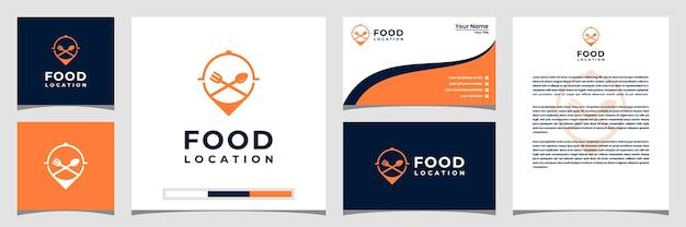 Voedsellocatie logo-ontwerp, met het concept van een speldvisitekaartje en briefhoofd