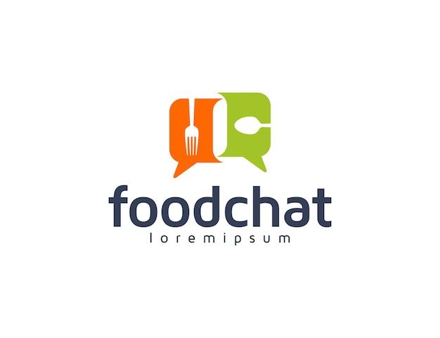 Voedsellogo met chat- of berichtconversatieconcept