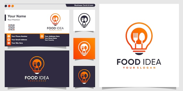 Voedsellogo met lijntekeningen ideestijl en visitekaartjeontwerp, gezondheid, voedsel, energie, sjabloon