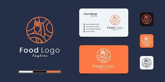 Voedsellogo-ontwerp gecombineerd met een vork en mes. visitekaartje ontwerp