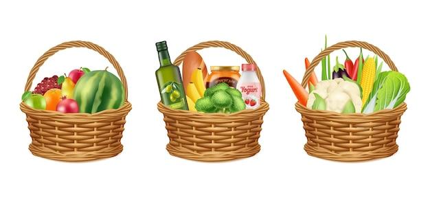 Voedselmand. realistische fruit groenten olie fles. brood melk groenten, geïsoleerde picknick of donaties packs vector illustratie. mand met groente en fruit uit de supermarkt