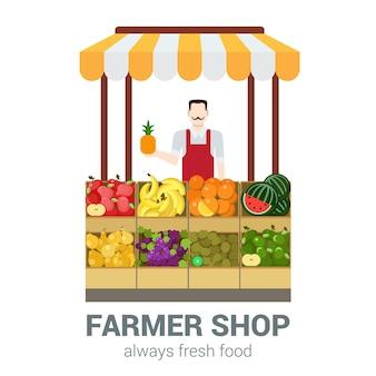 Voedselmarkt fruitwinkel eigenaar verkoper. vlakke stijl moderne professionele baan gerelateerde man werkplekobjecten. showcase box ananas appel banaan sinaasappel kiwi druiven peer. mensen werken collectie